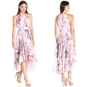 ELIZA J Floral Chiffon Halter Neck High Low Dress